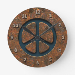 Rusty Peace Sign Round Clock