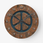 Rusty Peace Sign Round Clocks