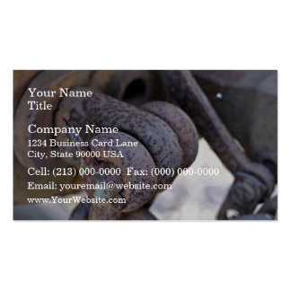 Rusty rail car linkage business card