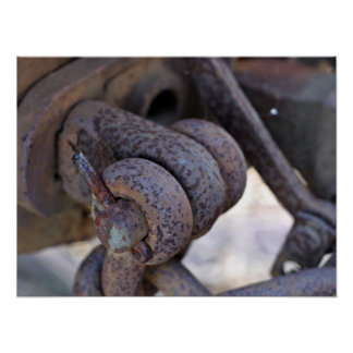 Rusty rail car linkage poster
