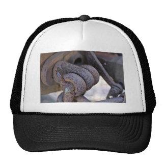 Rusty rail car linkage trucker hat