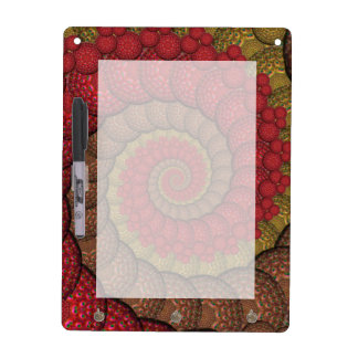 Rusty Red and Orange Peacock Fractal Dry Erase White Board
