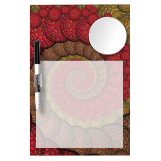 Rusty Red and Orange Peacock Fractal Dry-Erase Whiteboards