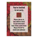 Rusty Red and Orange Peacock Fractal Personalized Invitations