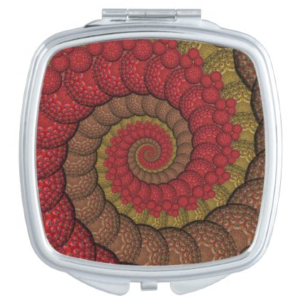 Rusty Red and Orange Peacock Fractal Mirror For Makeup