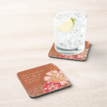 Rusty Red Damask with Big Flowers Coasters