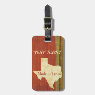 Rusty Red Muted Stripes Texas Luggage Tag