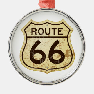 Rusty Route 66 Metal Ornament