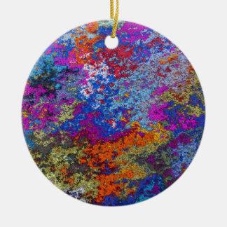 Rusty Rustic Paint Splatter Texture Ceramic Ornament