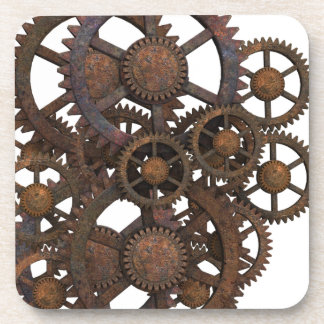 Rusty Steampunk Metal Gears Drink Coaster