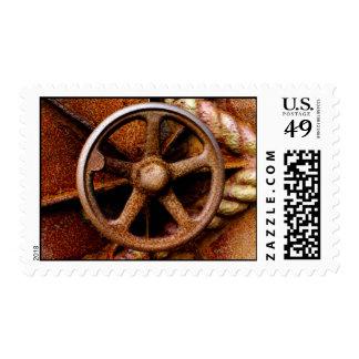 Rusty Submarine Hatch Wheel Postage Stamp
