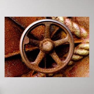 Rusty Submarine Hatch Wheel Poster