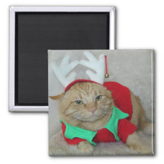 Rusty the Reindeer Elf 2 Inch Square Magnet