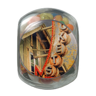 Rusty Ticket Booth Glass Candy Jars