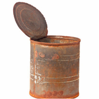 Rusty tin can statuette