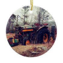 Rusty Tractor Ceramic Ornament