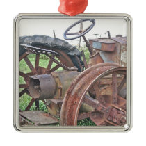 Rusty Tractor Metal Ornament