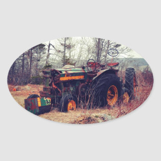 Rusty Tractor Oval Sticker