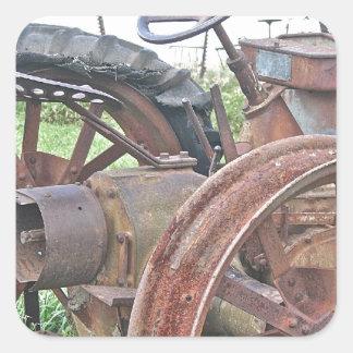 Rusty Tractor Square Sticker