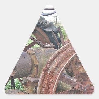 Rusty Tractor Triangle Sticker