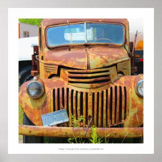 Rusty vintage car old junker antique automobile poster