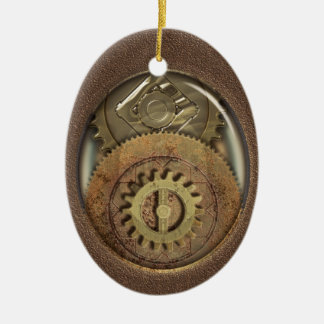 Rusty Vintage Cogs Steampunk Personalized Christmas Ornament