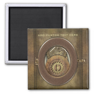 Rusty Vintage Cogs Steampunk Square Personalized Refrigerator Magnet