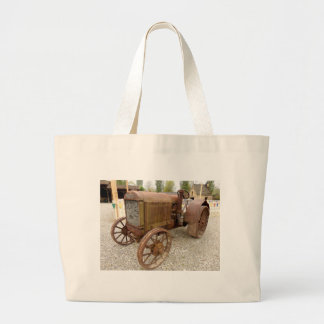 Rusty vintage tractor large tote bag