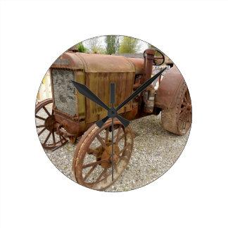 Rusty vintage tractor round clock