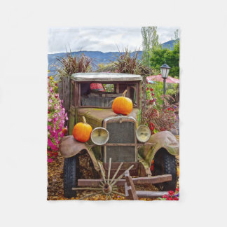Rusty Vintage Truck Pumpkins Scene Fleece Blanket
