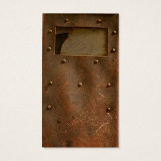 Rusty welding helmet business card