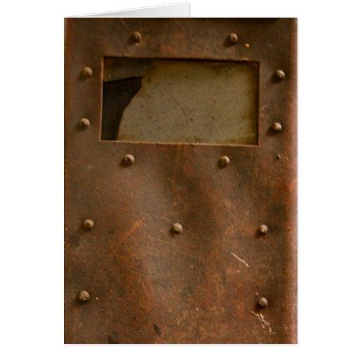 Rusty welding helmet card