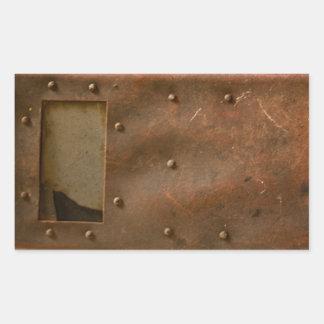 Rusty welding helmet rectangular sticker