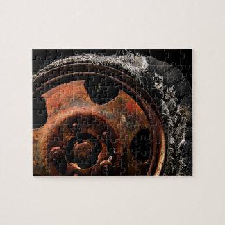 Rusty Wheel Torn Tire Macro Photograph Jigsaw Puzzle
