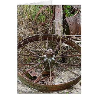 Rusty Wheels in a Junk Pile Card