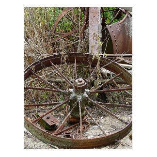Rusty Wheels in a Junk Pile Postcard