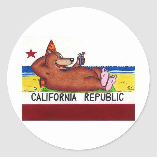 Rusty's California Bear Flag Classic Round Sticker