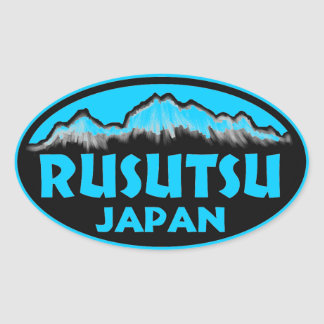 Rusutsu Japan blue oval stickers