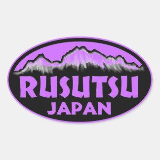 Rusutsu Japan purple oval stickers