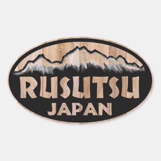 Rusutsu Japan wooden oval stickers