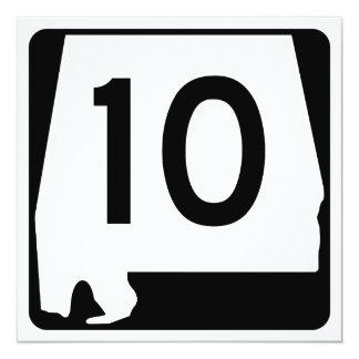 """Ruta 10 del estado de Alabama Invitación 5.25"""" X 5.25"""""""