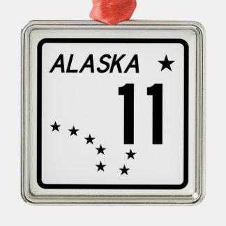 Ruta 11 del estado de Alaska Adorno Navideño Cuadrado De Metal