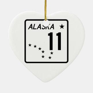 Ruta 11 del estado de Alaska Adorno Navideño De Cerámica En Forma De Corazón