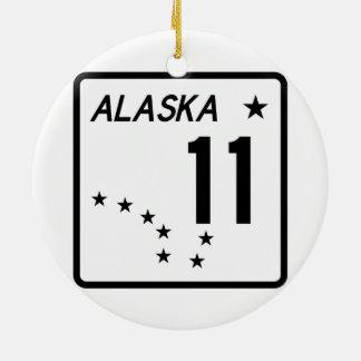 Ruta 11 del estado de Alaska Adorno Navideño Redondo De Cerámica