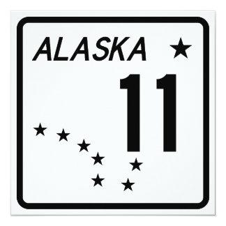 """Ruta 11 del estado de Alaska Invitación 5.25"""" X 5.25"""""""