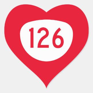 Ruta 126 de Oregon Pegatina En Forma De Corazón