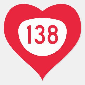 Ruta 138 de Oregon Pegatina En Forma De Corazón