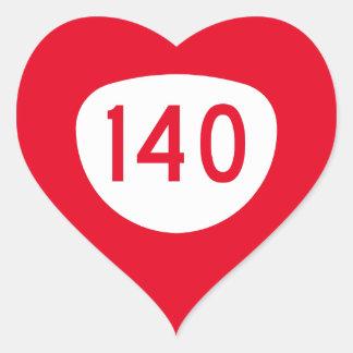 Ruta 140 de Oregon Pegatina En Forma De Corazón