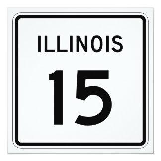 """Ruta 15 de Illinois Invitación 5.25"""" X 5.25"""""""