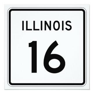 """Ruta 16 de Illinois Invitación 5.25"""" X 5.25"""""""